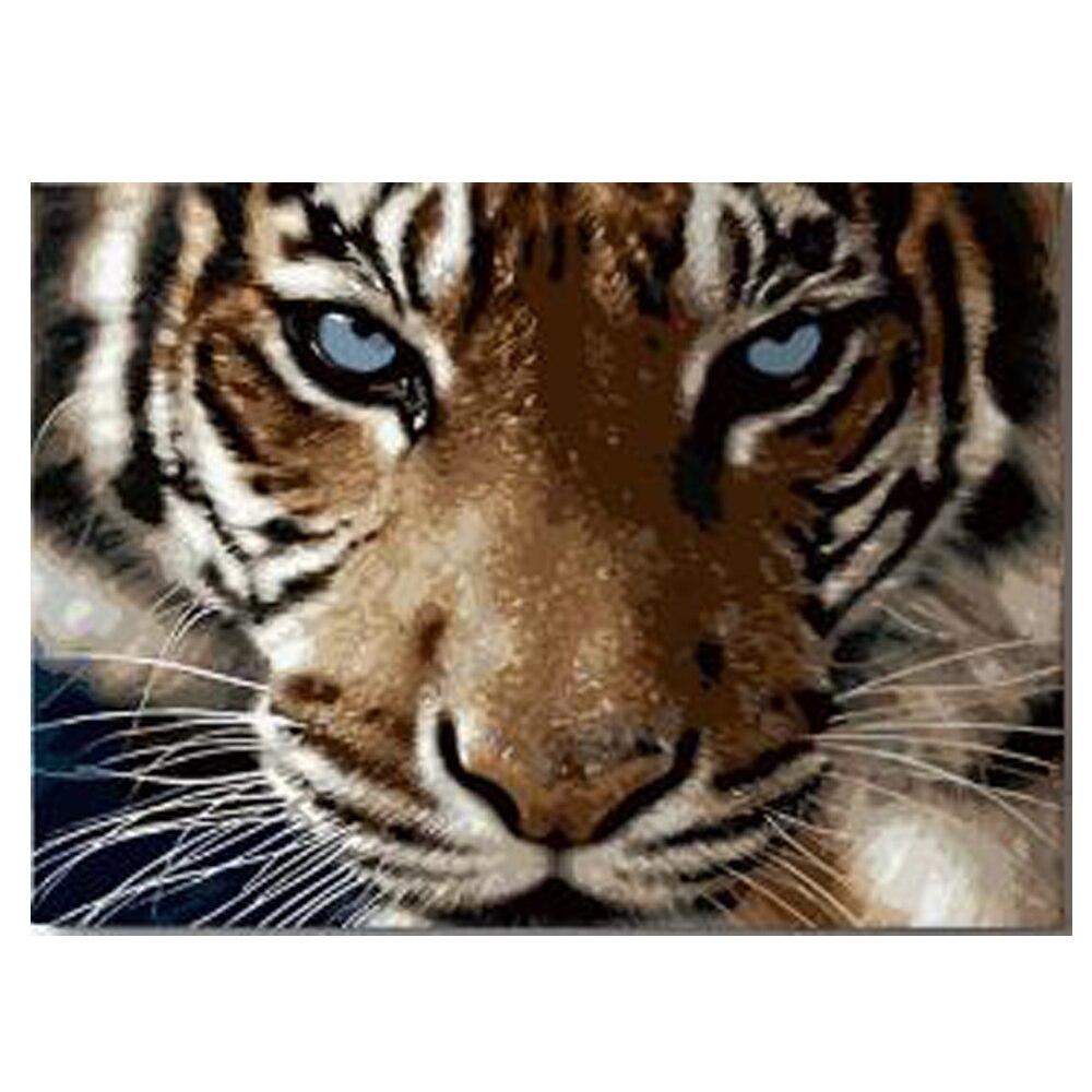 DIY נמר יהלומי ציור תרגיל Panthera tigris רקמת טייגר ראש צלב תפר ספק מלא עגול תרגיל בית תפאורה
