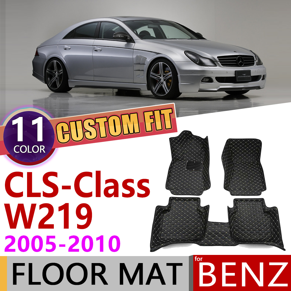 Custom Leather Car Floor Mats For Mercedes Benz CLS Class W219 2005~2010 W 219 5seats Foot Pad Carpet Accessories 300 350 500