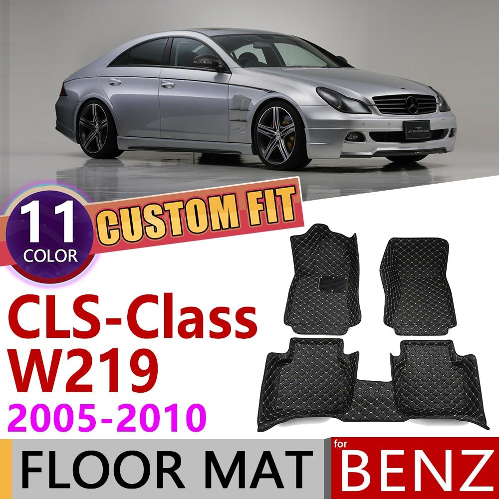 Custom Leather Car Floor Mats For Mercedes Benz CLS Class W219 2005~2010 W 219 5seats Foot Pad Carpet Accessories 300 350 500