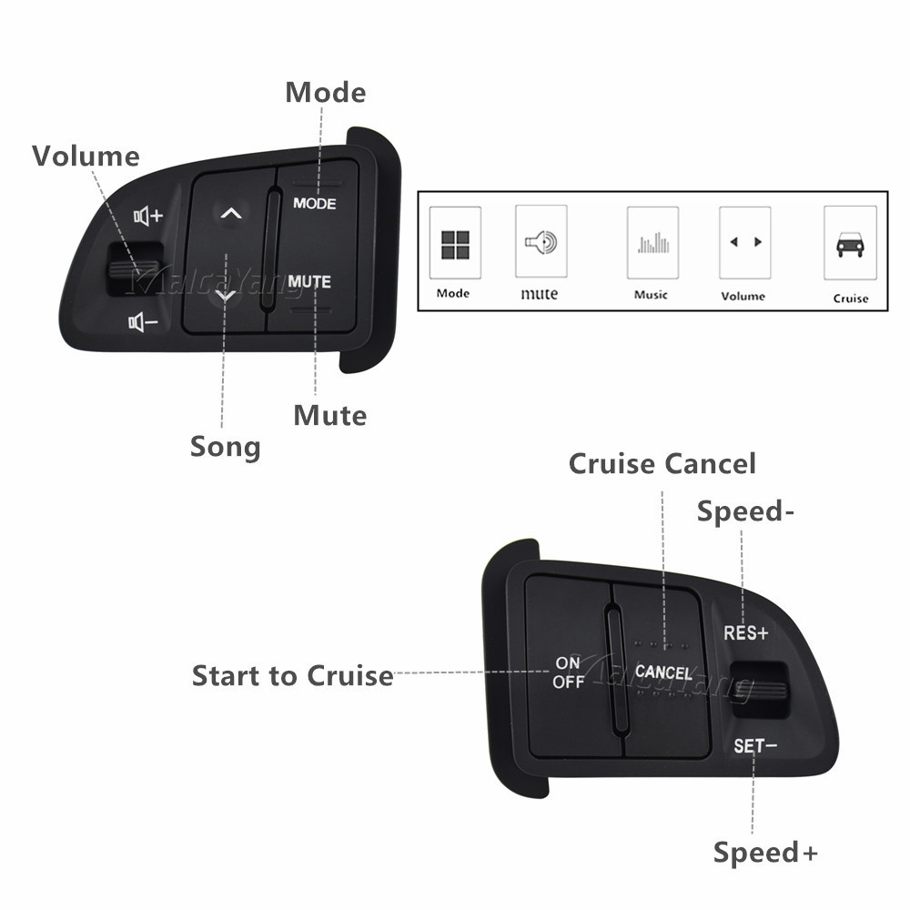 steering <font><b>wheel</b></font> button For <font><b>Kia</b></font> <font><b>sportage</b></font> Audio Cruise Control switch volume mute phone button switch <font><b>car</b></font> accessorires image