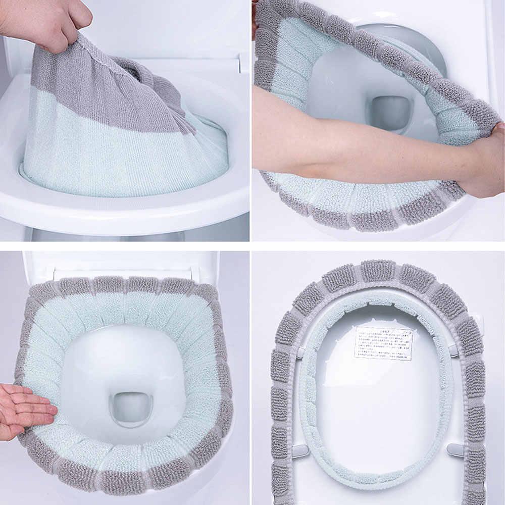 유니버설 따뜻한 부드러운 빨 수있는 변기 커버 매트 홈 장식에 대 한 설정 Closestool 매트 좌석 케이스 화장실 뚜껑 액세서리