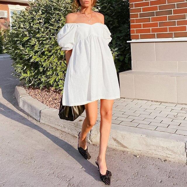 Green O Neck Casual Women Dress Lantern Short Sleeve Solid Pink Mini Dress Ladies Elegant A Line Summer Dresses Cotton 2021 4