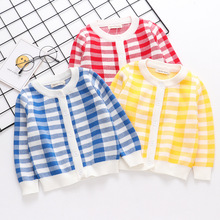 2019 new boy fashion sweater coat plaid cardigan autumn winter baby girl clothes children leisure sweaters christmas coats