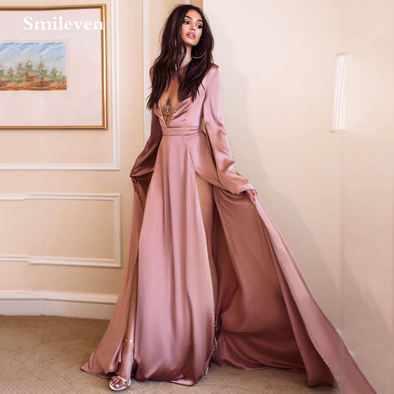 Smileven silk Satin Evening Dresses 2020 Sexy V Neck Flare Sleeve Party Gowns Double Split Robe De Soiree Prom Dresses Plus Size