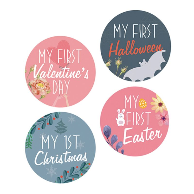 12 Pcs/set Newborn Growth Month Sticker Baby Kids Christmas Memorial Photo Props U50F