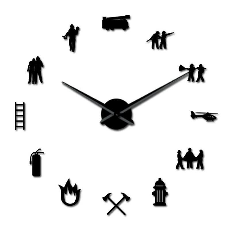 New Firefighter Love Diy Giant Wall Clock Fire Department Office Big Clock Watch Firefighting Rescue Volunteer Axe Hydrant Equip
