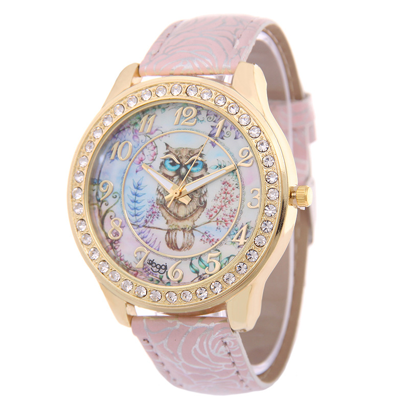 Luxury Wristwatch Ladies Rose Pattern Leather Bracelet Watches Owl Design Gold Rhinestone Casual Watch