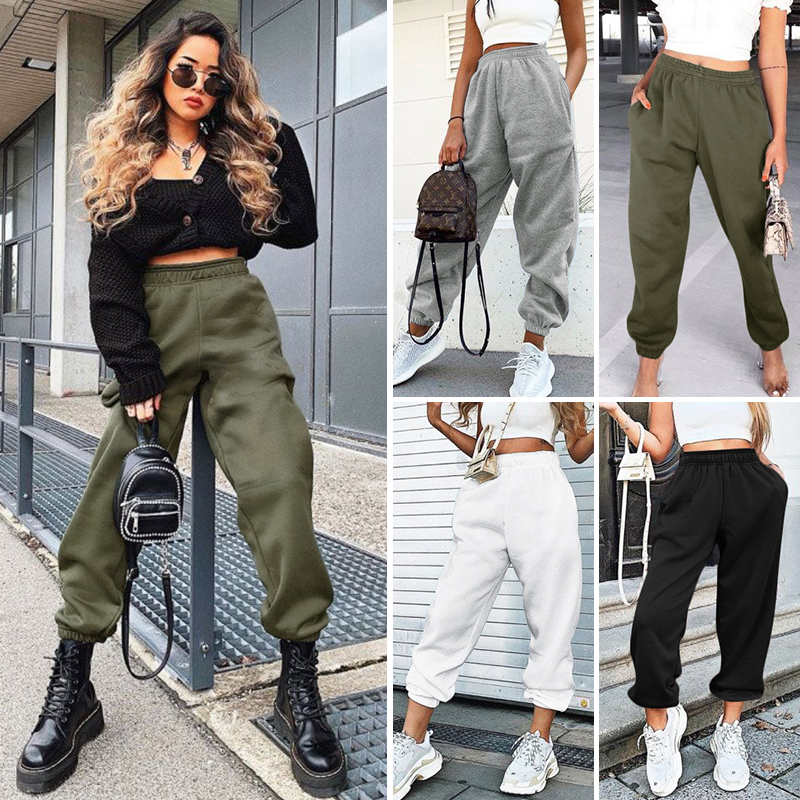 New High Waist Casual Loose With Pockets Long Pants For Spring 2020 Female Fashion Solid Color Splice Cotton Casual Pants Womens