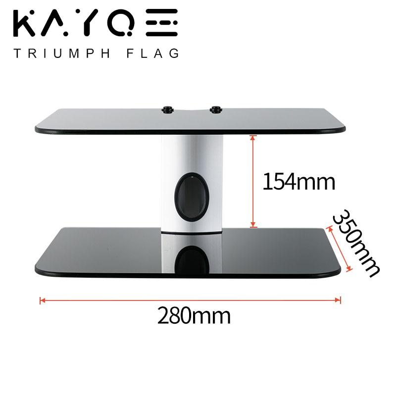 2Tiers AV Shelf Stand for AV Receiver Set-top Boxes Black DVD Wall Hanging Bracket Maximum Load Capacity 80kg High Temp Glass