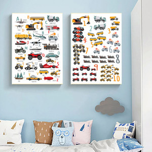 Toy Cars Alphabet Posters Number Letter Learning Wall Art Print Boy Car Poster Nursery Painting Picture Boy Kids Room Decoration