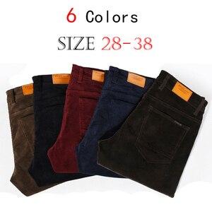 Image 4 - NIGRITY החורף עבה גברים מכנסיים אמצע המותניים רופפים אלסטי קורדרוי מכנסיים ארוכים ישר עסקי מכנסי קזואל 6 צבעים