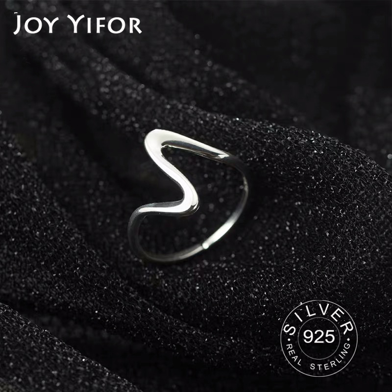 Pure 100% 925 Sterling Silver Finger Rings For Girls Ladies Simple Thin Line Curve Wave Wild Smooth Ring Jewelry