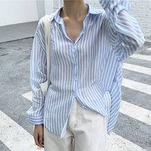 Длинные рубашки в полоску женская блузка женский топ модные