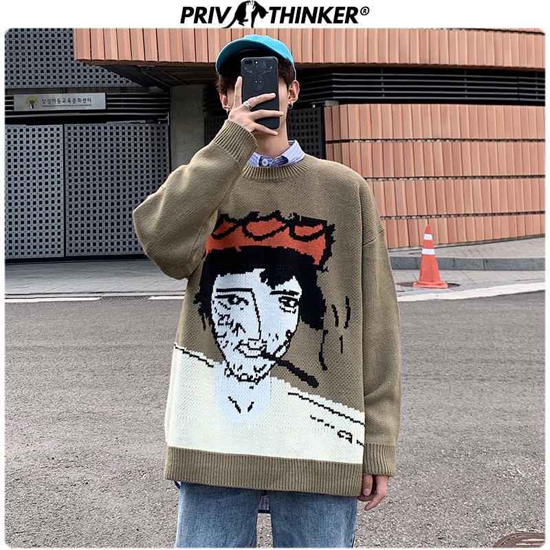 Privathinker Men's Autumn Winter Funny Print Knitted Sweater Male Jacquard Pullovers Sweaters Clothes Men Casual Streetwear Tops