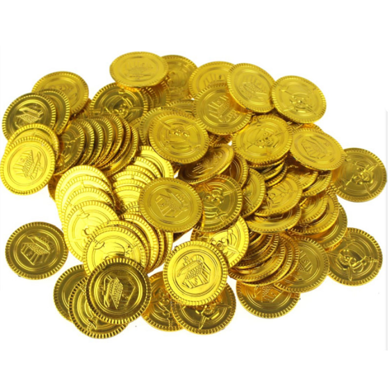 100pc Party Gifts Treasure Game Hunt Pirates Caribbean Gold Coin Dress Up Jewelry Party Metal Coins Captain Pirate Toy Medallion