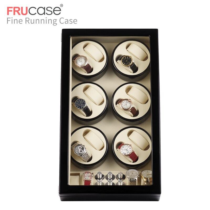 Image 3 - Automatyczna nakręcarka zegarków FRUCASE Black high finish zasilanie prądem zmiennym obsługa ultra cisza 12 + 4Pudełka do zegarków   -