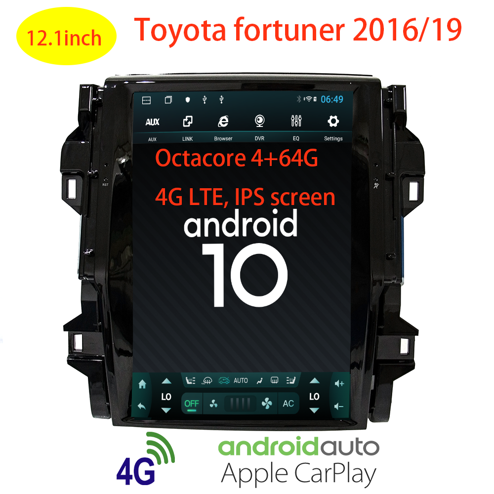 tesla style android 10 auto-toyota fortuner 2016 2017 2018 2019 car gps navigation auto-radio carplay multimedia accessories image