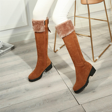 Plus Size 34-44 Womens Winter Shoes Knee High Boots Quality Faux Suede Brand Thigh Snow Fashion Punk Women Boot