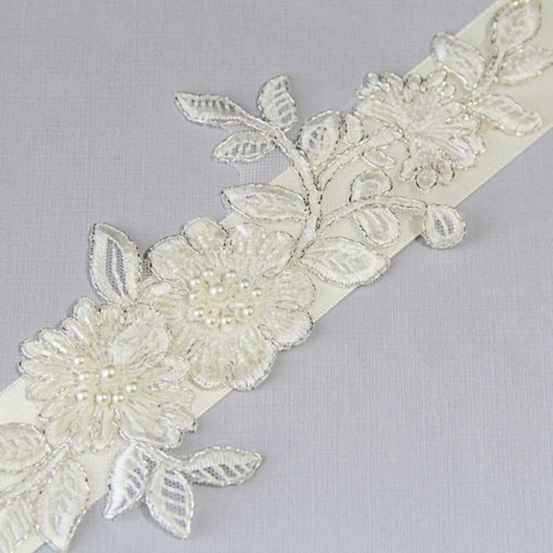 Купить с кэшбэком Ivory Beaded Lace with Satin Ribbon Sash, Wedding Sash, Bridal  Bridesmaid Flower Girl Sash