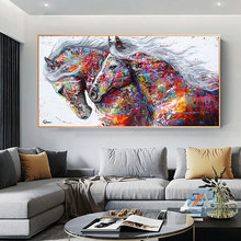 Abstract posters and graffiti horse running wall art canvas animal painting living room design house