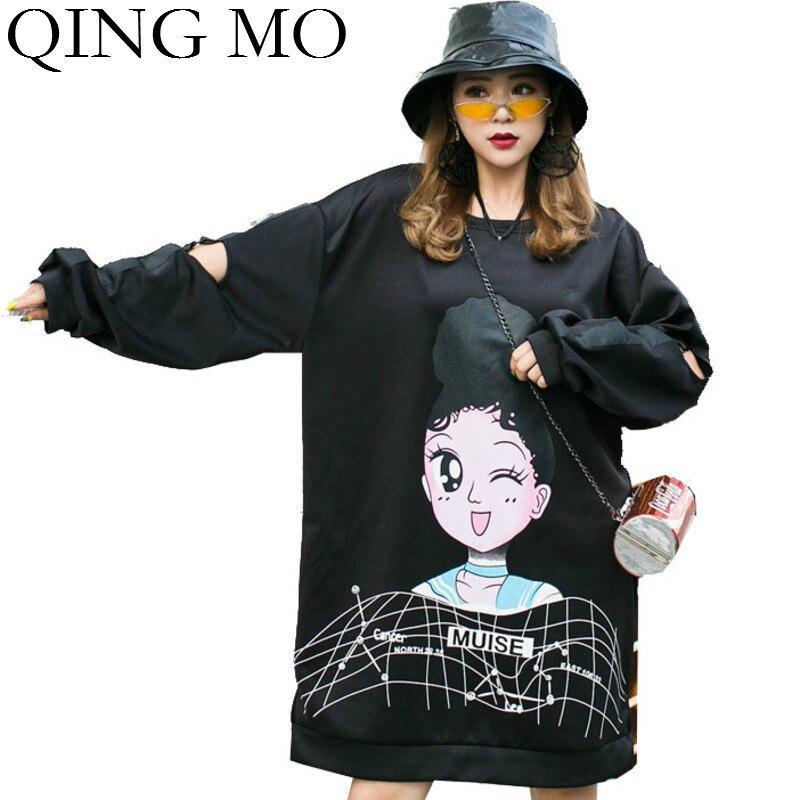 QING MO Cartoon imprimé femmes robe noir violet femmes droite lâche robe automne élégant robe fête d'anniversaire ZQY1678