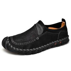 Image 2 - Zapatos informales de cuero genuino para hombre, mocasines transpirables sin cordones, cómodos para conducir los zapatos de hombres, de cuero de talla grande 38 48