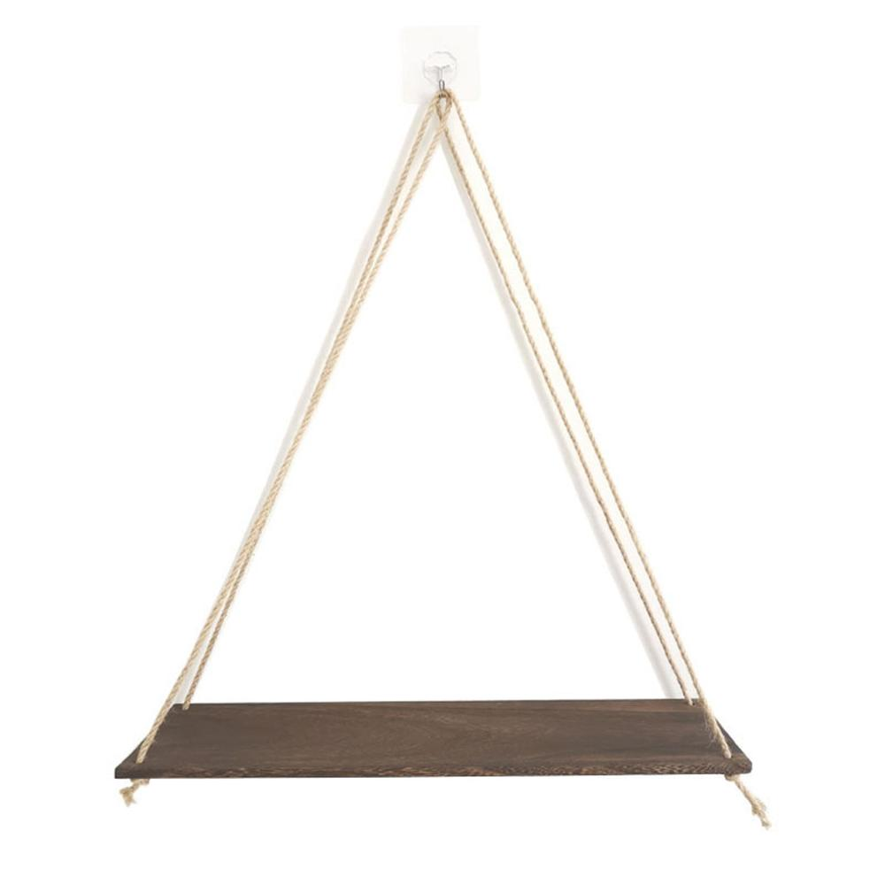 Premium Wood Swing Hanging Rope Wall Mounted Floating Shelves Plant Flower Pot indoor outdoor decoration simple design 5