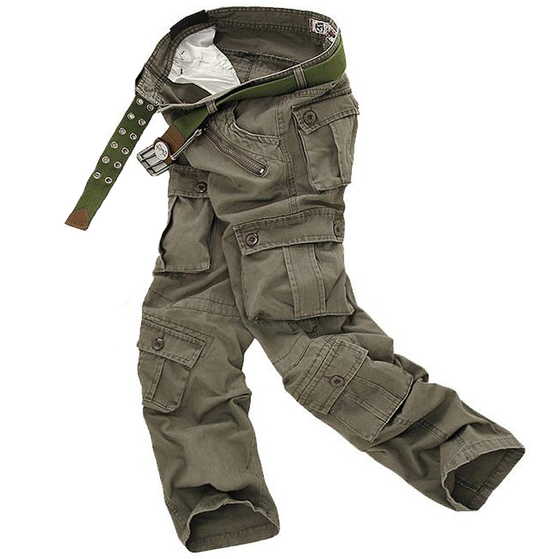 Men Cargo Pants High Quality Casual Loose Multi Pocket Camouflage Military Pants Men's street Joggers Plus Size 44 Long Trousers 5
