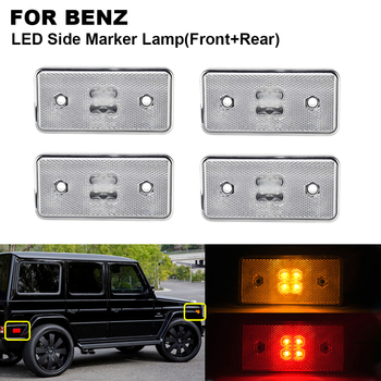 4PCS LED Side Marker Turn Signal Light For BENZ W463 02-14 2PCS x Amber Front clear 2PCS x Red Rear clear Side Indicator Light
