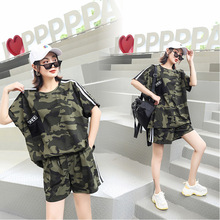2 Pieces Women Camouflage Army Print T Shirt Bottom Camo Set Tracksuit Summer Sleeve Crew Neck T-shirt Shorts Suit 3d flame bird print crew neck long sleeve t shirt