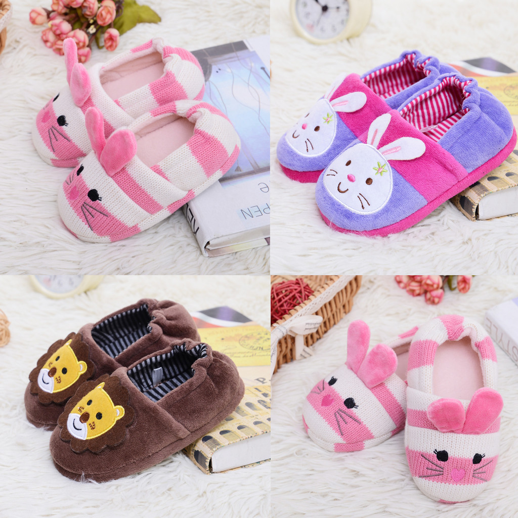 Toddler Infant Kids Baby Warm Shoes Boys Girls Cartoon Soft-Soled Slippers  Children's Suit High Quality