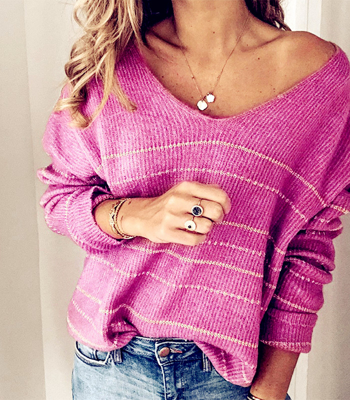 2020 Winter Pullover Sweater Women Knit Tops Sexy Strip Boho Plus Size Casual Long Sleeve Pull Female Solid Sweaters Pullovers