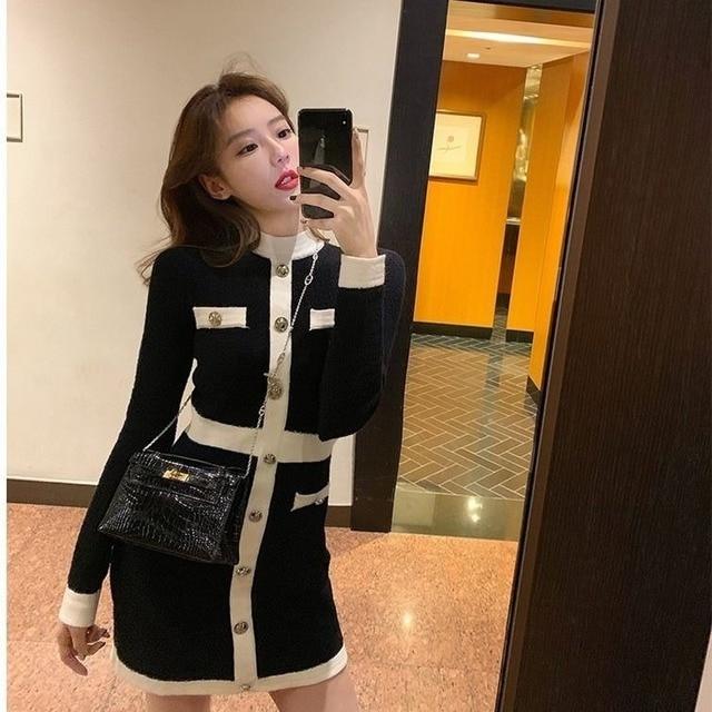 QWEEK Knitted One-piece Dress Korean Fashion Winter White Women Knit Bodycon Dress Elegant Long Sleeve Dress Knitwear For Women 1