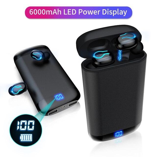 6000 バッテリー充電ケースワイヤレス Bluetooth 5.0 イヤホン HD ステレオヘッドフォンスポーツ防水ヘッドセットとデュアルマイク