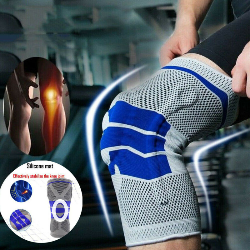 2020 Newest 1pcs Nylon Spring Knee Brace Sport Support Strong Meniscus Protection Compression Black Gray Outdoor Knee Pads
