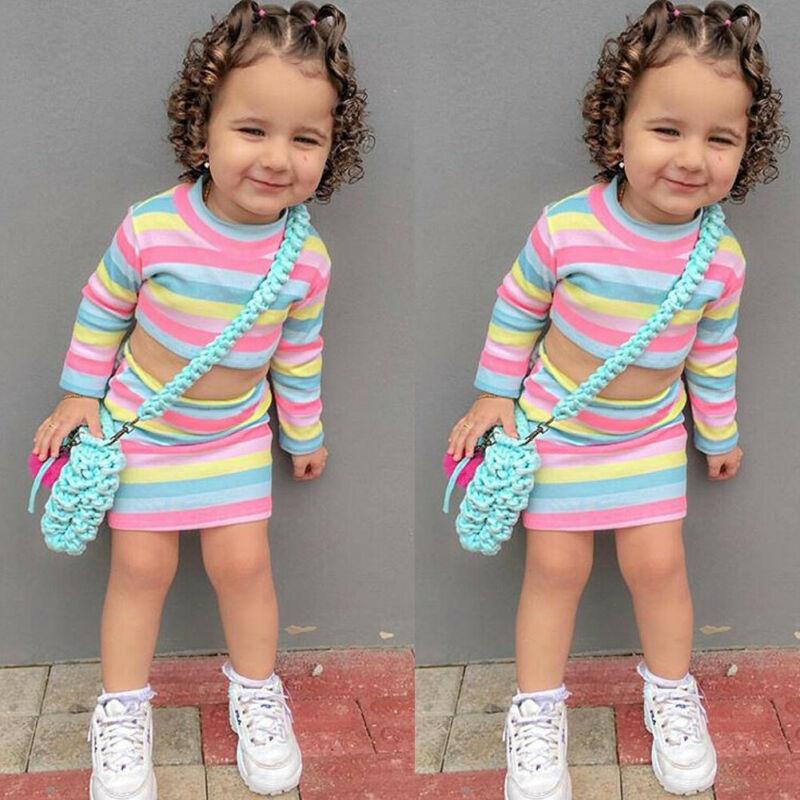 2PCS Toddler Kids Baby Girl Rainbow T-shirt Tops+Skirt Dress Outfit Clothes Set