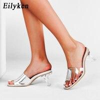 Eilyken clair Perspex cristal talon femmes pantoufles mode d'été PVC Patchwork Transparent Peep orteil Mules carré chaussures à talons hauts