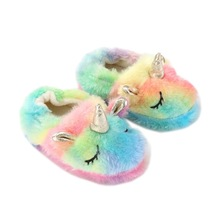 Winter Kids Cute Unicorn Slippers Children Bedroom Cotton Shoes Baby Girls Boys Lovely Indoor Home