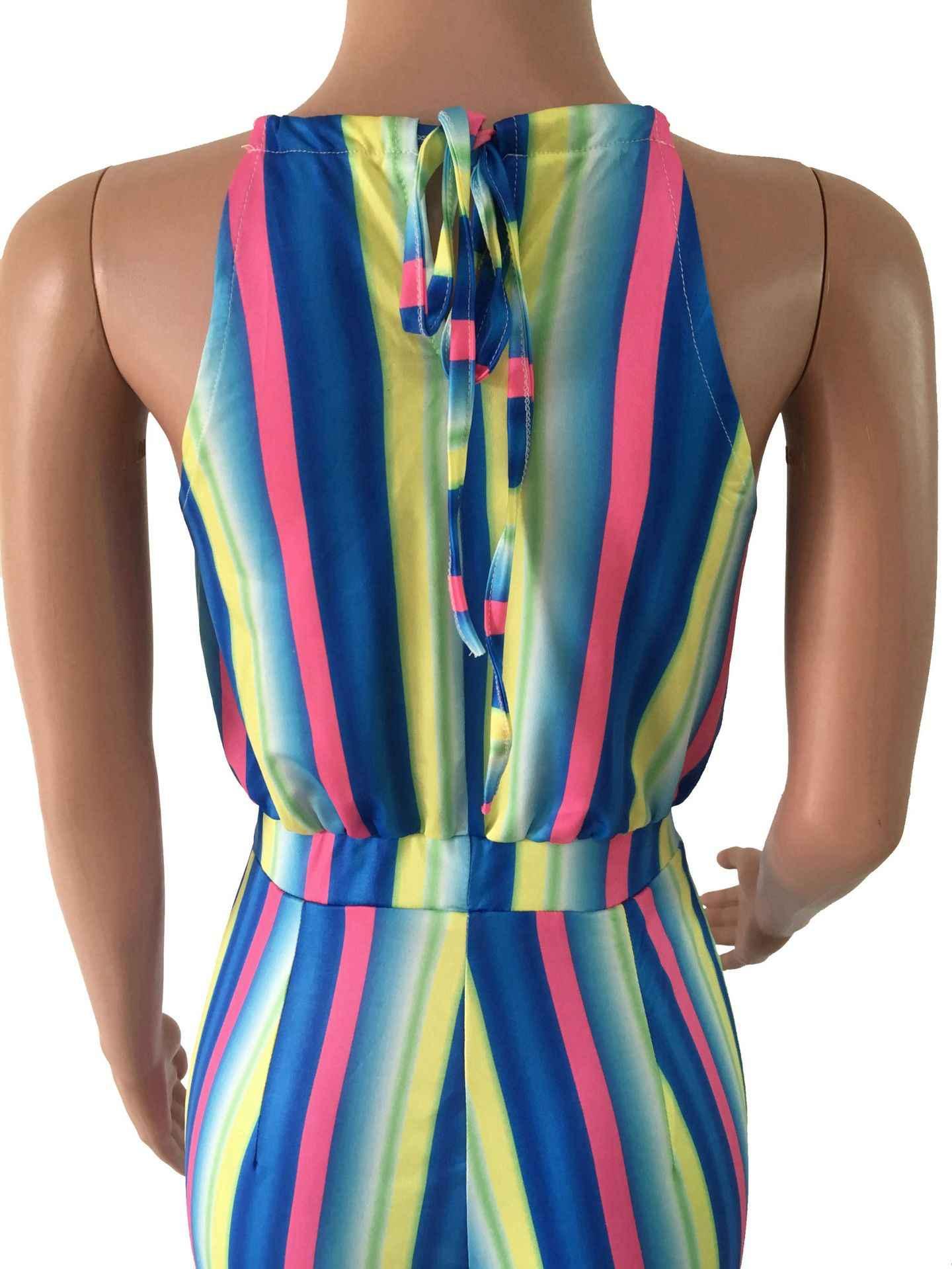 Elegant เซ็กซี่ Halter Rompers ชุดสตรีแขนกุด Rainbow สบายๆขากว้าง Jumpsuits Leotard โดยรวมแฟชั่น Nova ผู้หญิง