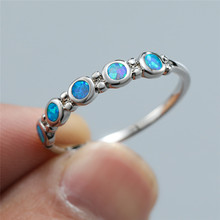 Single Row Blue White Fire Opal Engagement Rings For Women Rose Gold Silver Color Birthstone Ring Female Luxury Bridal Jewelry 3pcs set oval fire white opal rose gold rings for bride wedding rings set engagement ring anniversary birthstone jewelry gifts