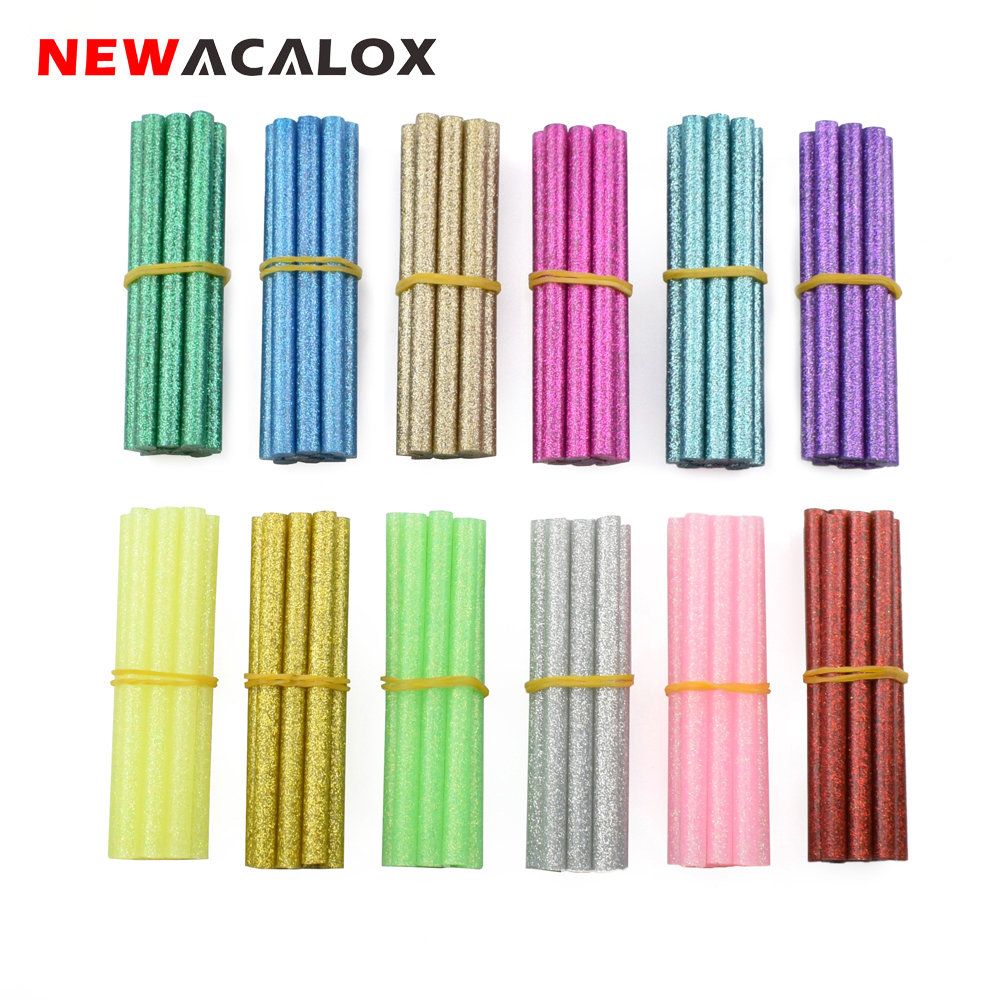 NEWACALOX 120pcs/lot Colored Hot Melt Glue Stick Rod 7mm For Glue Gun High Viscosity Adhesive Pen DIY Art Craft Hand Repair Tool