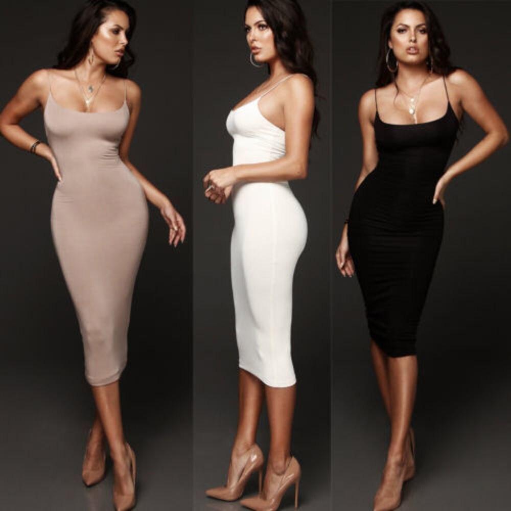 Fashion Women Sexy Sling Bodycon Slim Short Midi Dress Hot Sale Sleeveless Strap Pencil Dress Party Dress Casual Femmel Vestido