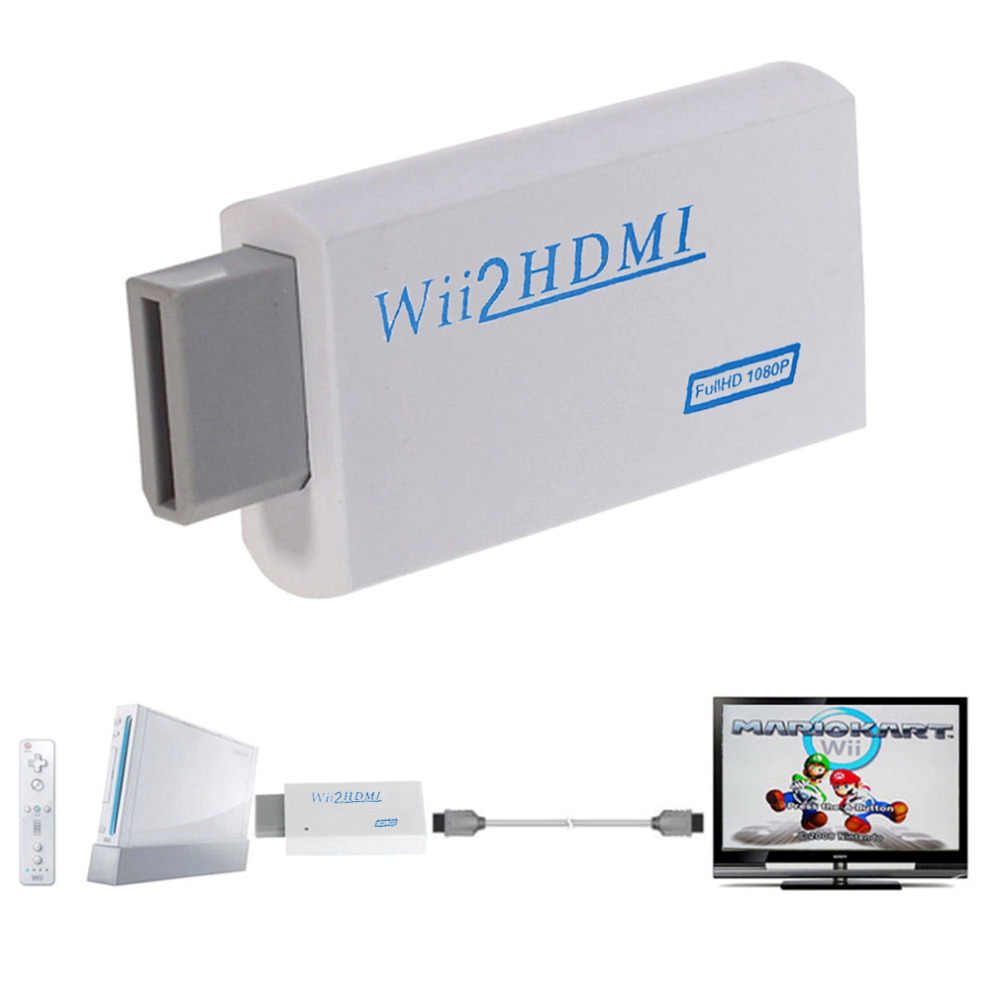 Untuk Wii untuk HDMI 1080P Upscaling Converter Wii2HDMI Adaptor Converter Full HD Output Peningkatan 3.5 Mm Audio Output Video terbaru