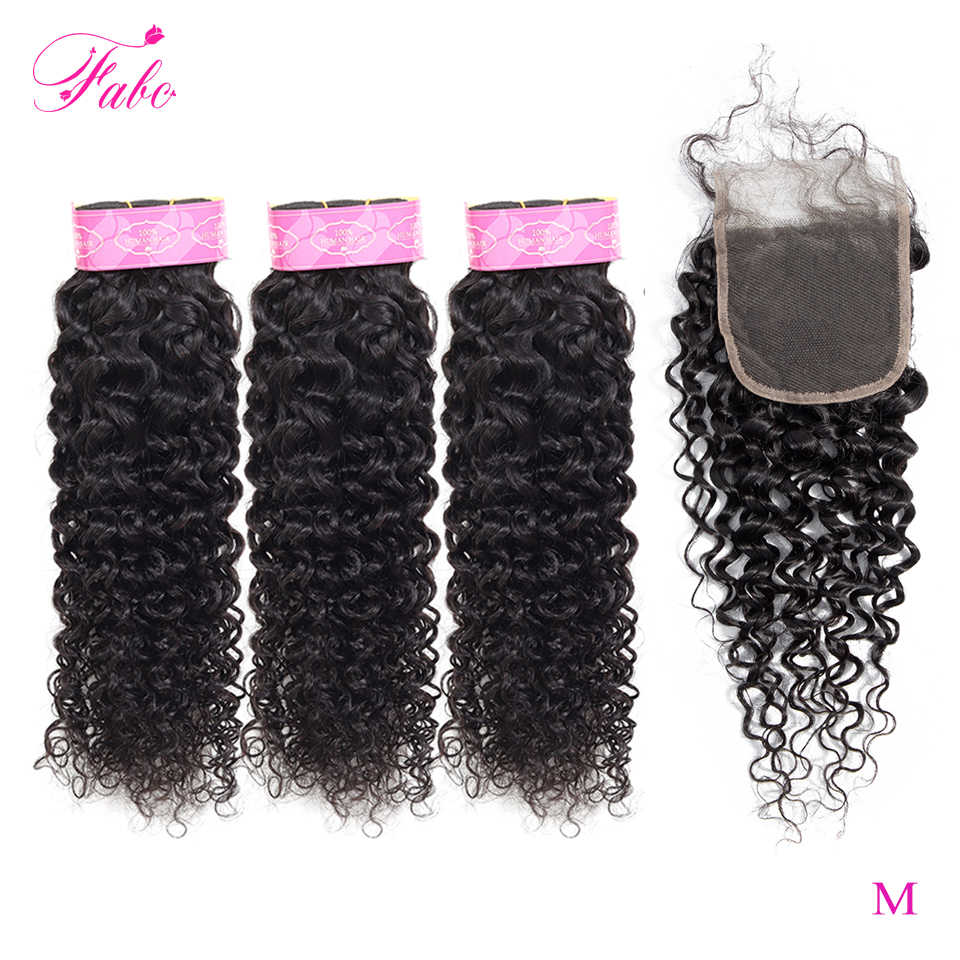 FABC Hair Brazilian Water Wave Bundles With Closure Pre Plucked Non-remy Middle Ratio Human Hair Weave Bundles Natural Black