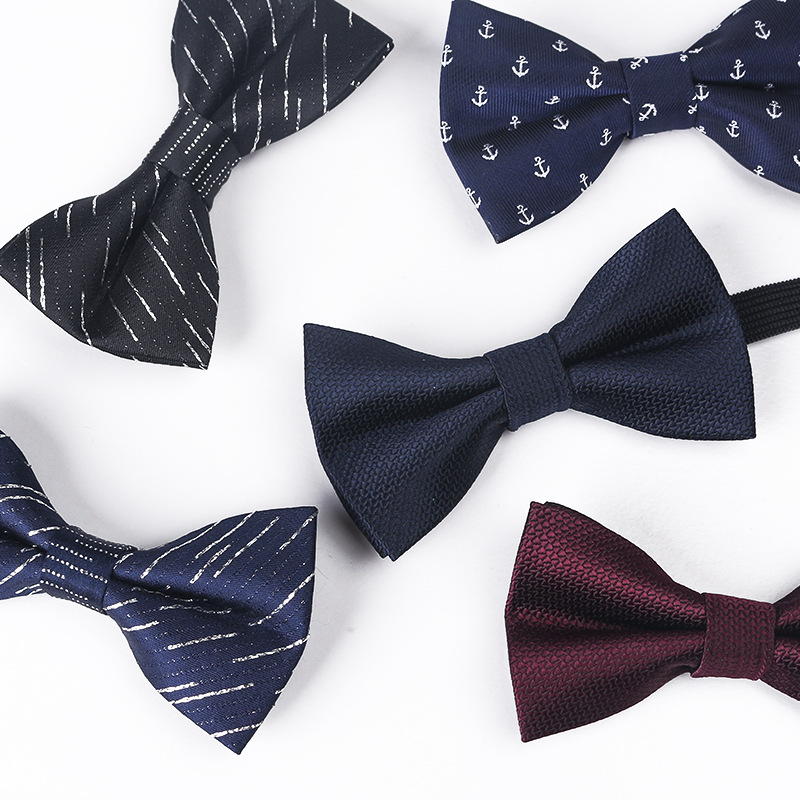 New Fashion Kids Boy Polyester Bowtie Butterfly Tie Adjustable Bright Silk Blue Striped Anchor Print Bow Ties Party Pet Neck Tie