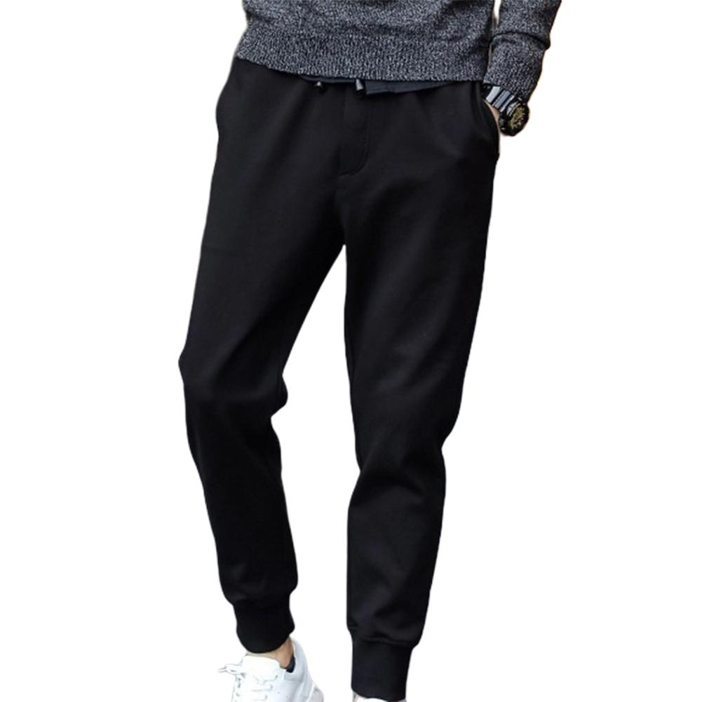 Men Casual Waist Drawstring Ankle Tied Pockets Fitness Sports Long Pencil Pants
