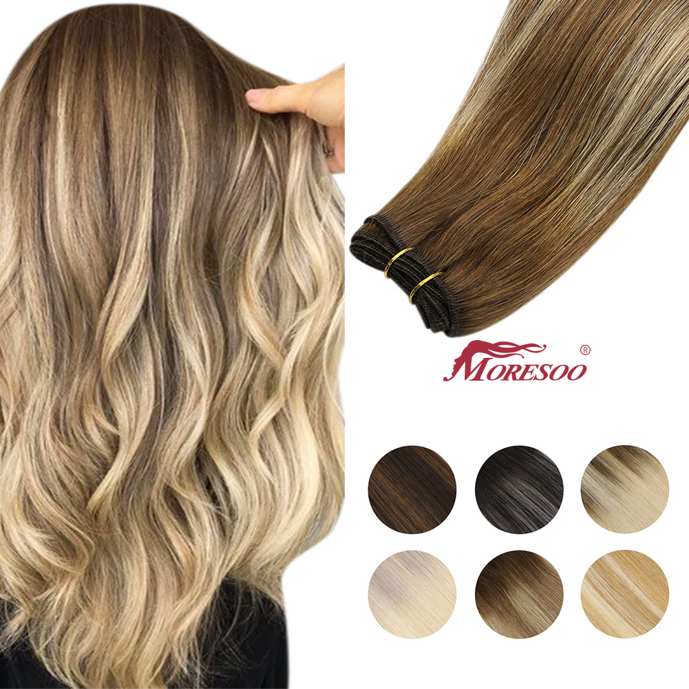[New colors] Sew in Human Hair Bundles Brazilian Hair Hand Tied Weft Silky Straight Machie Made Remy Extensions Balalyage 100g