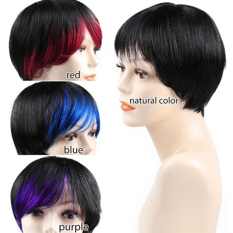 Non Lace Short Human Hair Wigs Pre Plucked Brazilian Straight Pixie Cut Bob Wigs with Bang For Black Women Non Remy Bling Hair Karachi
