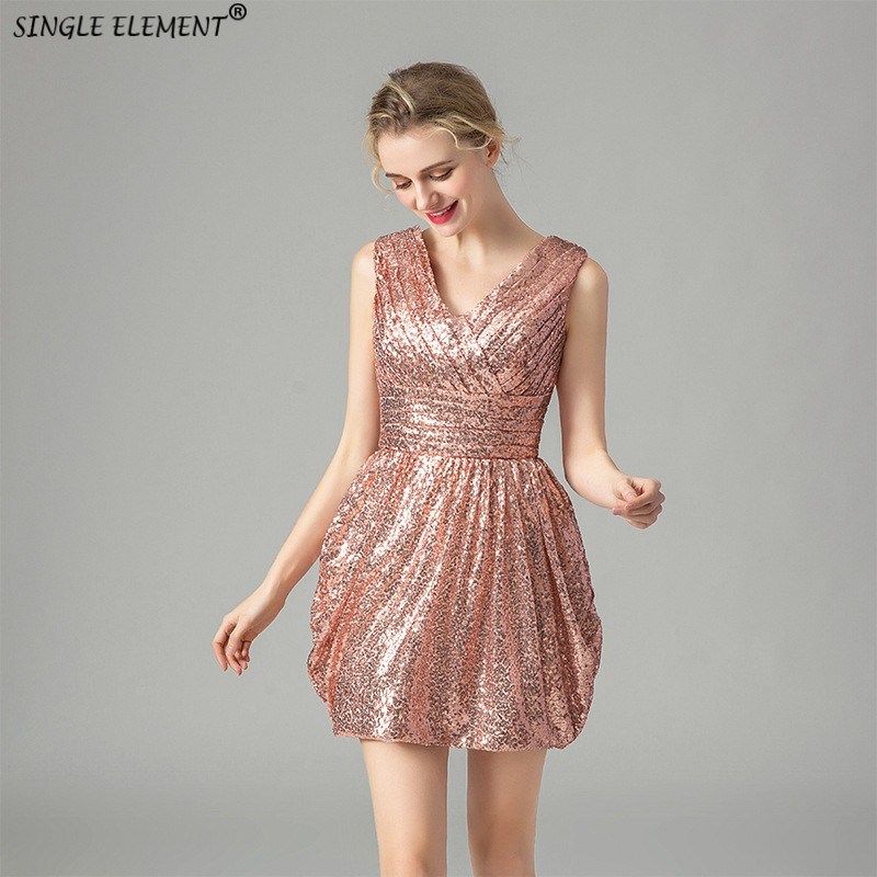 High Quality Robe de soiree Sequin Short V Neck Cheap   Bridesmaid     Dresses   2019