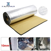 X AUTOHAUX, 394mil, 10mm de espesor, 50/100cm * 200cm/300cm, lámina de aluminio, guardabarros de algodón para el cuidado del motor, esterilla aislante de sonido para el cuidado del calor